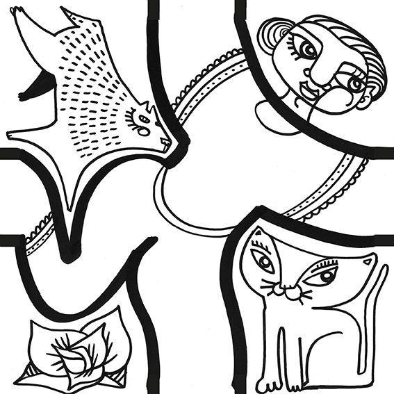 dessin de danse par aNa artiste à la ligne noire pour pièce de puzzle décoratif my art box
