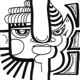 dessin noir et blanc d'un tête de diable créée par aNa artiste pour puzzle décoratif stickers my art box