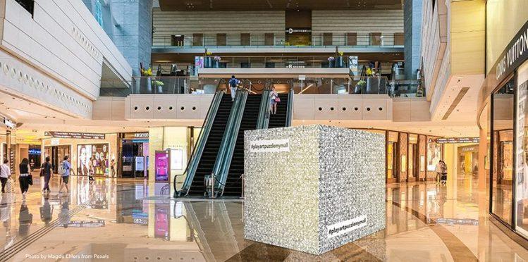 un cube géant de 2m de coté décoré et exposé dans un centre commercial idée animation play art pour stimulation compte instagram