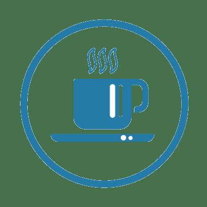 Idée team building original comme une tasse de café chaud fumant représente l'idée de la cohésion en entreprise sous forme de pictogramme simplifié