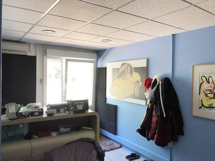 Chambre Bleue ou bureau 14m2 dans Bureaux et Habitation à vendre situés au 1 rue Saint Léonard 69270 Couzon-au-Mont-d'Or