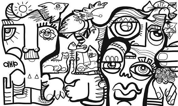 Fresque digitale aNa artiste réalisée en live lors d'un webinaire fresque digitale