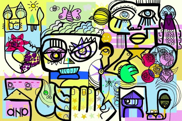 Evénementiel Télétravail : Ce visuel est une fresque digitale qui réside de l'Idée et protocole de verbatim à distance