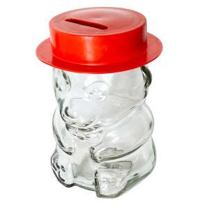 Glazen beertje met deksel en rood hoedje – per stuk
