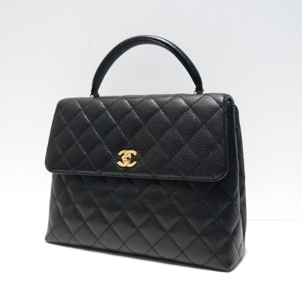 Chanel Black Caviar Leather Vintage Kelly Bag Personal Shoppers