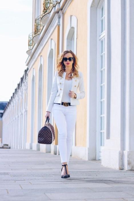 Outfit, Royal, Zara Blazer, Gucci Belt, white, gold