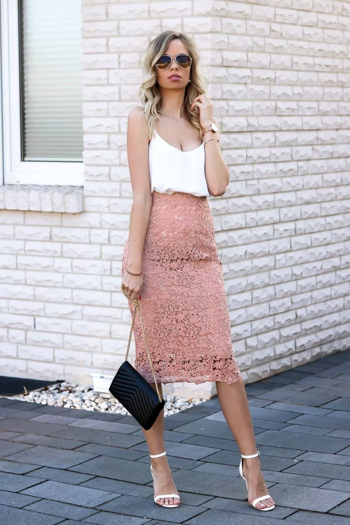 Outfit Blush Baby Lace Pencil Skirt Amp White Cami
