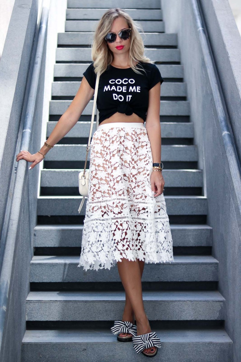Dubai Outfit: Tshirt and Lace Midi Skirt