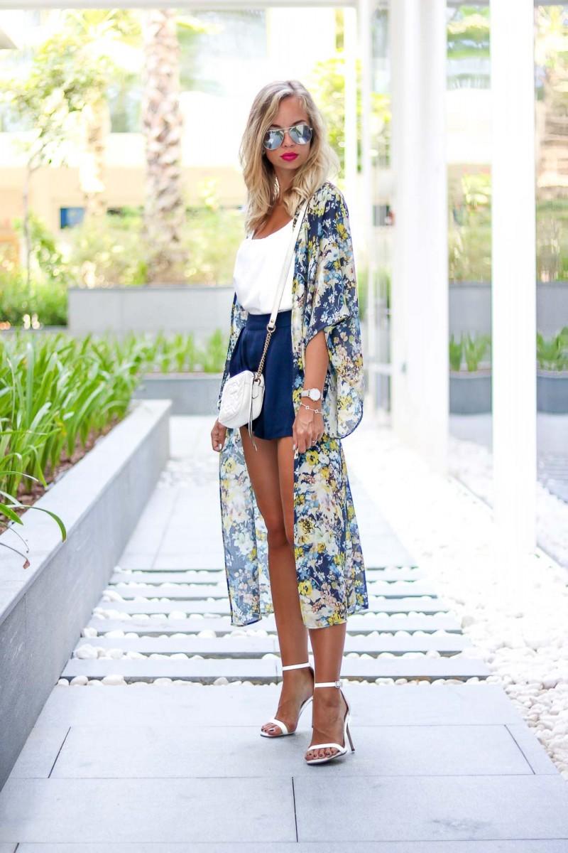 Outfit: Elegant Kimono Style, Skort, Heels, Gucci Marmont
