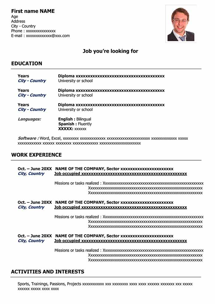 Free CV Template To Fill Out In Word Format CV Examples