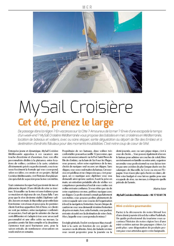 Limpact article Juillet 2015 My Sail croisiere Mediterranee