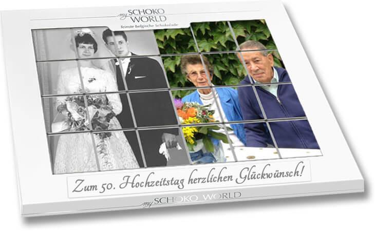 Goldene Hochzeit Geschenk Schokolade Mit Eigenen Fotos