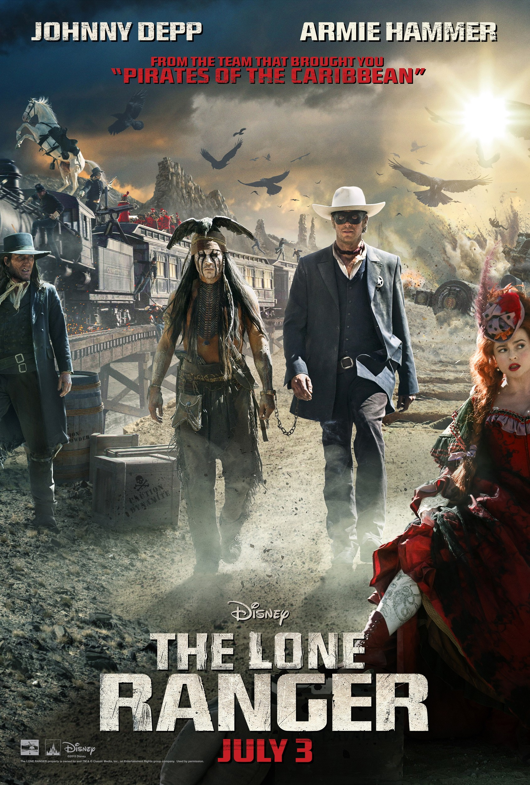 """Theatrical poster for """"The Lone Ranger"""" starring Johnny Depp and Armie Hammer."""