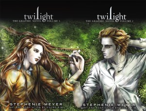 """Covers of """"Twilight"""" graphic novels volumes 1-2, by Stephenie Meyer and Young Kim."""