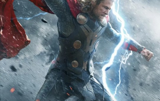 "Theatrical teaser poster for ""Thor: The Dark World"", featuring Thor wielding the mighty Mjölnir."