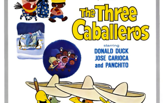 "Poster for the theatrical release of ""The Three Caballeros""."