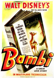 "Original theatrical poster from the ""Bambi"" 1942 release."