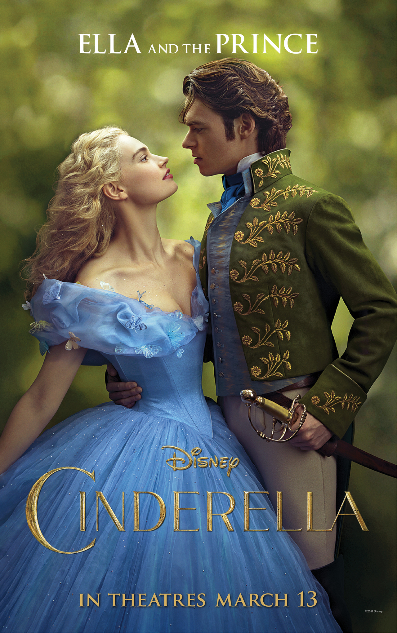 """Cinderella"" 2015 theatrical teaser poster featuring Ella and the Prince."
