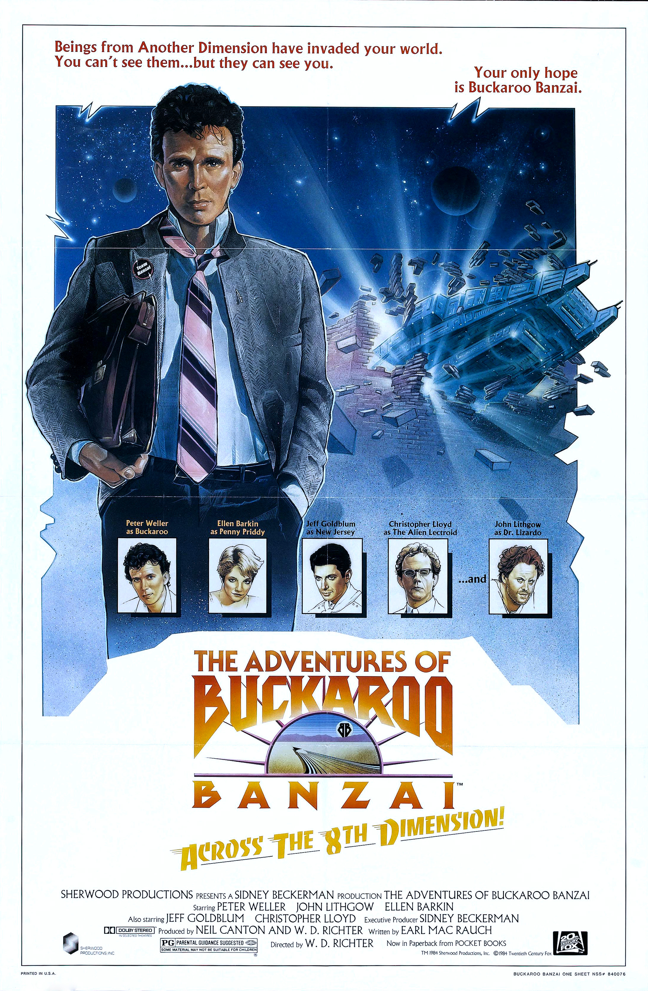 """The Adventures of Buckaroo Banzai Across the Eighth Dimension"" theatrical teaser poster."