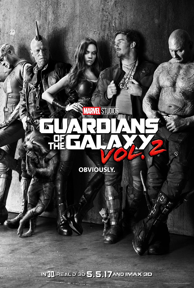 """Guardians of the Galaxy Vol. 2"" black and white IMAX theatrical teaser poster."