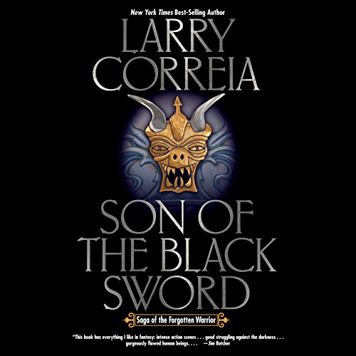 """Son of the Black Sword"" by Larry Correia, audiobook cover."