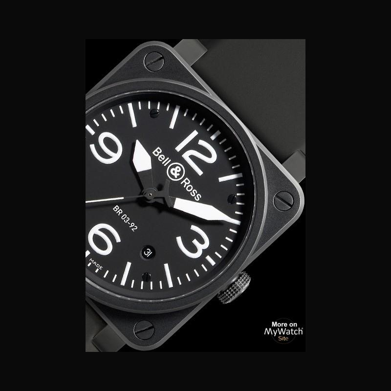 Watch Bell & Ross BR 03-92 Carbon   AVIATION BR0392-BL-CA Matte Black PVD Steel