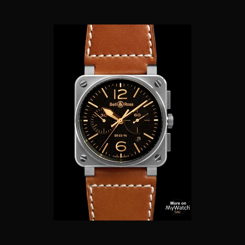 Watch Bell & Ross BR 03-94 Golden Heritage   AVIATION BR0394-ST-G-HE/SCA Steel - Leather Bracelet