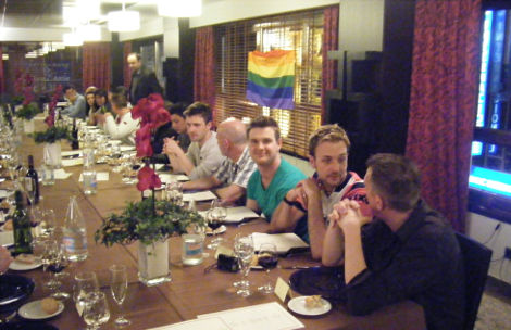 Gay people having dinner in an Andorran Restaurant