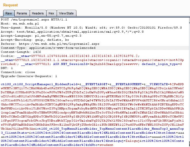 żądanie typu POST do serwera aplikacyjnego służący do autentykacji użytkownika