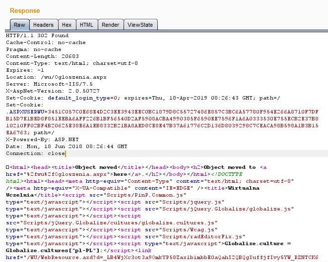 odpowiedź serwera, który ustawia dla użytkownika token ASPXUSERWU służący jako identyfikator sesji
