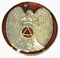 AA Symbol Enamel Angel Medallion - Red
