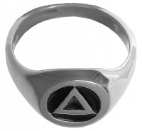 Sterling Silver AA Symbol Circle Triangle Signet Ring With
