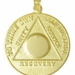 10k Gold Medallion Pendant Alcoholics Anonymous Medallion