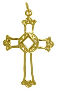 14K Gold NA Cross & Symbol Pendant