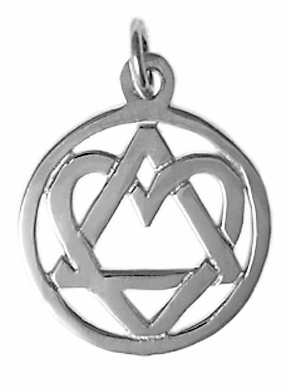 Sterling Silver AA Heart Triangle Pendant