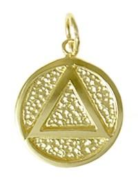 14K Gold AA Symbol Medallion Pendant