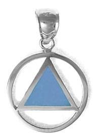 Small Sterling Silver & Blue Enamel AA Pendant
