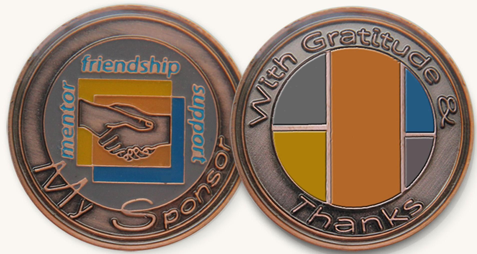 My Sponsor Recovery Enamel Medallion
