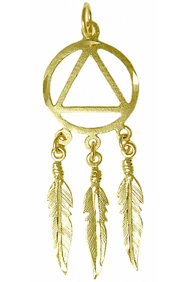 14k Gold Indian 3 Feathers AA Symbol Pendant