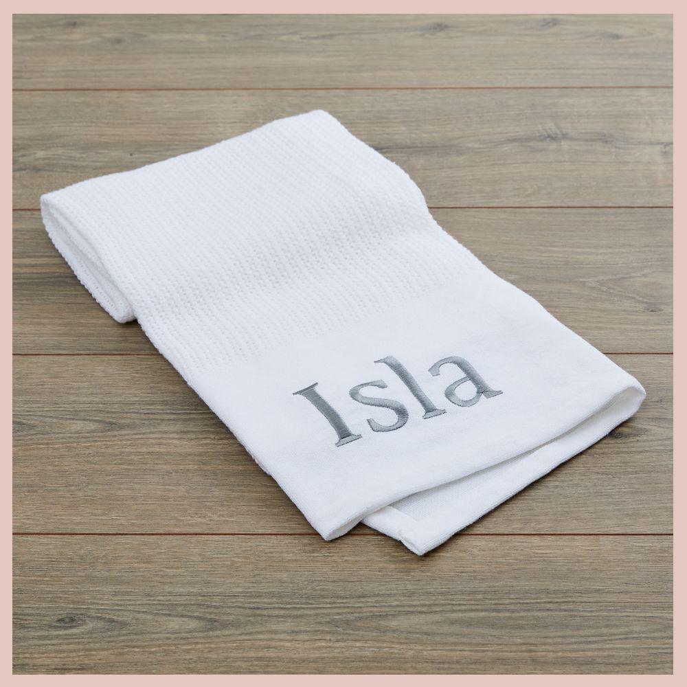 Personalised White Cellular Blanket