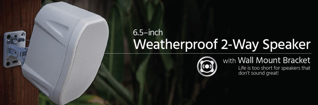 weatherproof Monoprice 6.5 Outdoor speakers with wall mount bracket