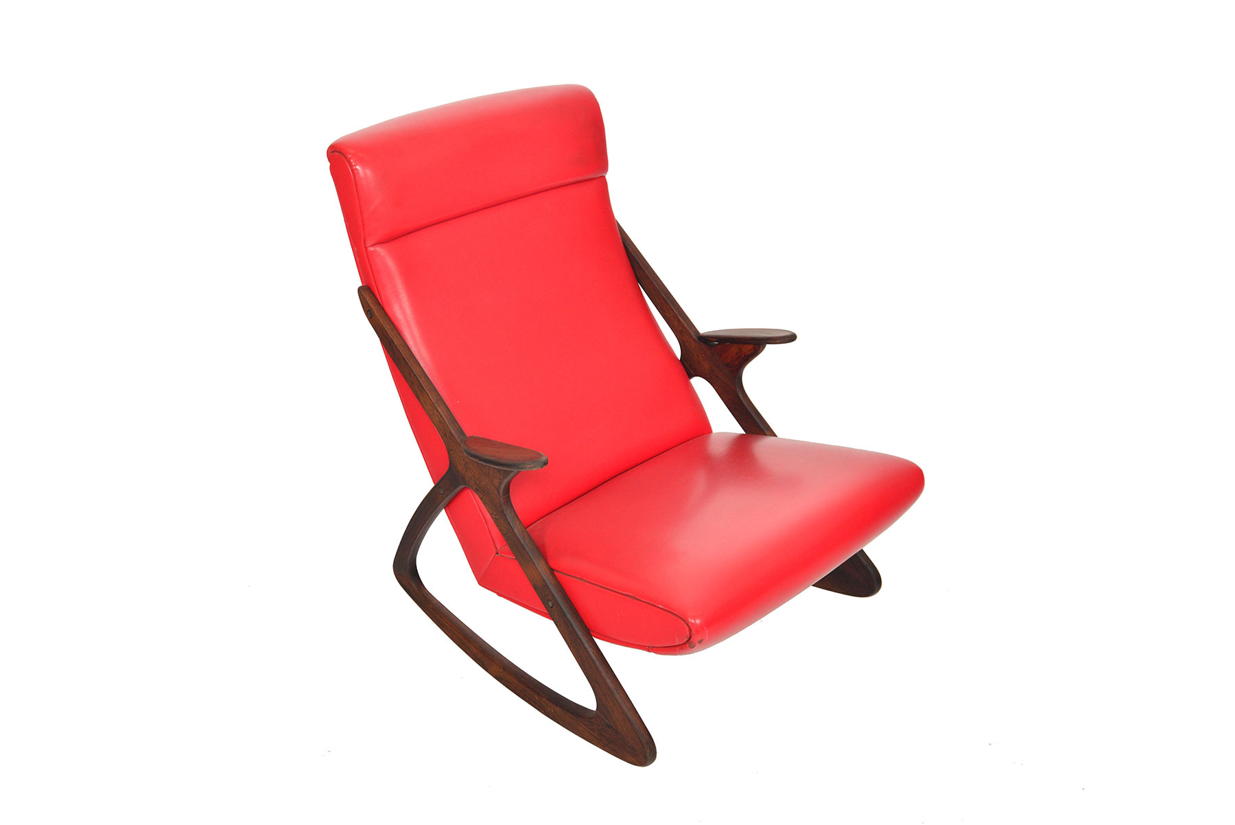 MCM Danish highback rocking chair in rosewood front high