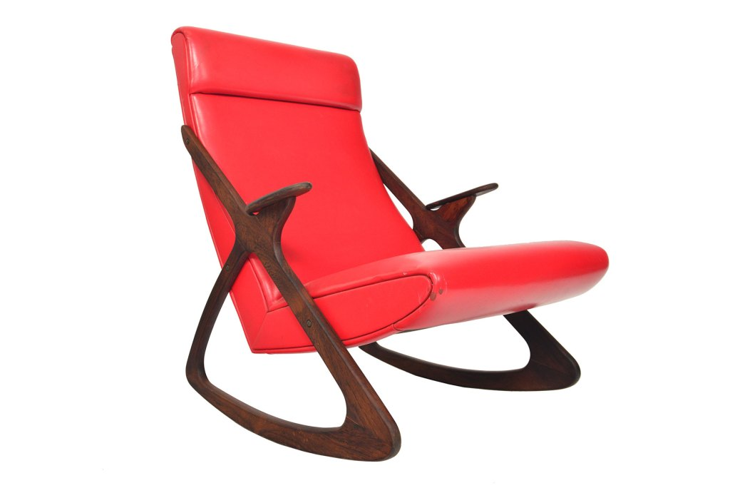 MCM Atomic rocking chair in RED leather