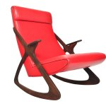 MCM Danish highback rocking chair in rosewood front