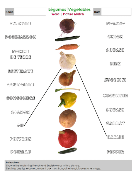 Vegetable Word | Picture Match Document Preview Picture