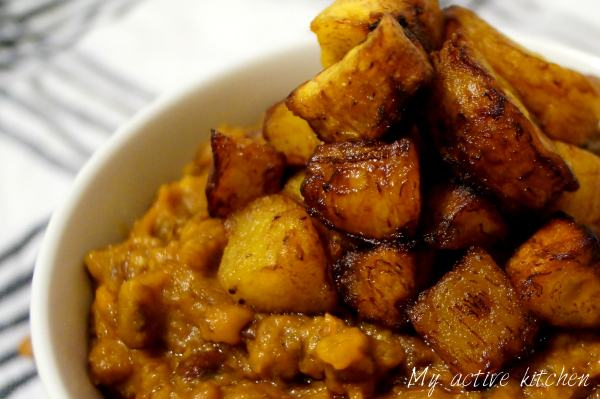 stewed beans and fried plantain.