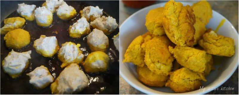 process shot of how to make lumpy egusi by frying it in palm oil.
