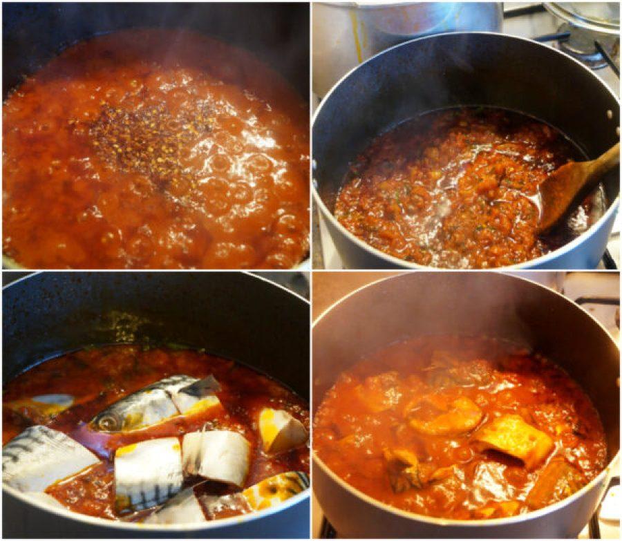 Mackerel stew in a pot with uziza