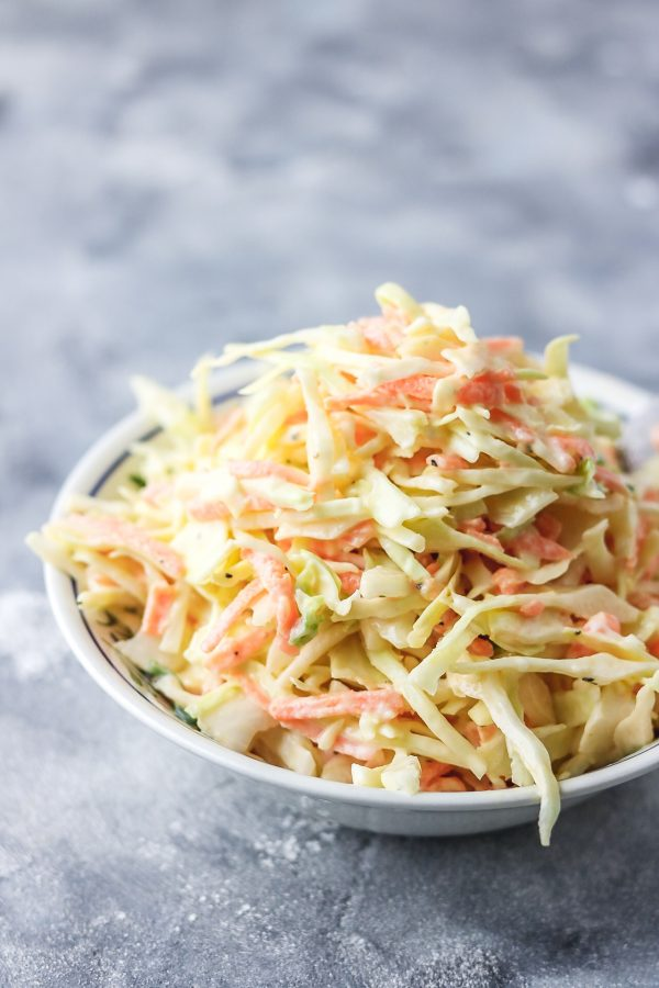 easy coleslaw in a bowl